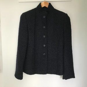 Armani Collezioni Midnight Blue Wool Blend Jacket